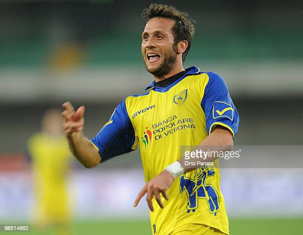 Elvis Abbruscato of Chievo celebrates after scoring his team's second goal during the Serie A match between AC Chievo Verona and AS Livorno Calcio at...
