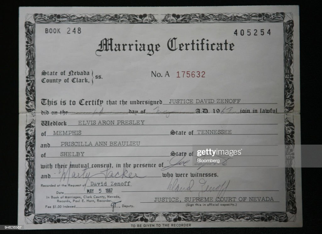 Elvis And Priscilla Presleys Marriage Certificate Is Displayed At