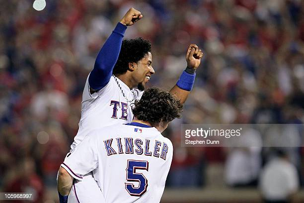 Elvis Andrus and Ian Kinsler of the Texas Rangers celebrate afte they won 6-1 against the New York Yankees in Game Six of the ALCS during the 2010...
