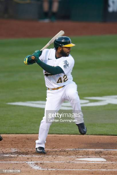 Elvis Andrus of the Oakland Athletics at bat against the Detroit Tigers at RingCentral Coliseum on April 15, 2021 in Oakland, California. All players...