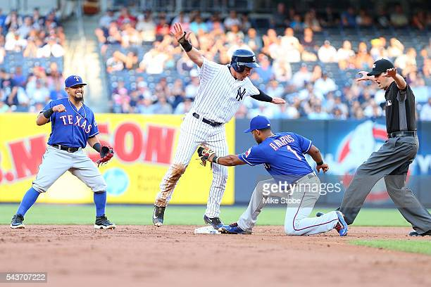 Elvis Andrus of the Texas Rangers applies the tag late on a pickoff play on Jacoby Ellsbury of the New York Yankees in the first inning at Yankee...