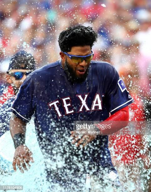 Elvis Andrus of the Texas Rangers at Globe Life Park in Arlington on September 29, 2019 in Arlington, Texas.