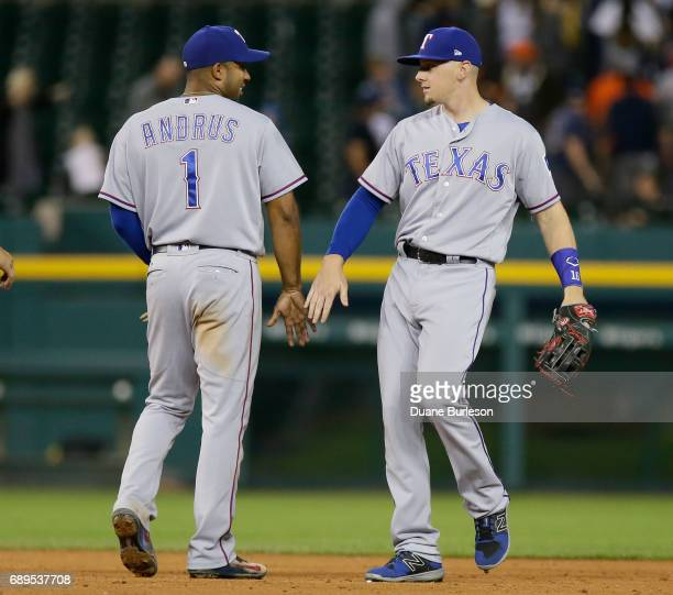 Elvis Andrus of the Texas Rangers celebrates with Ryan Rua of the Texas Rangers after a win over the Detroit Tigers at Comerica Park on May 21 2017...
