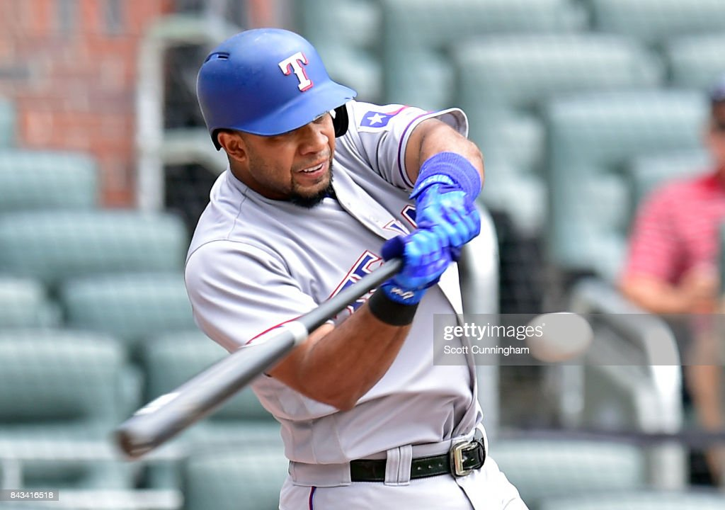 Elvis Andrus #1 of the Texas Rangers hits a first inning solo home run against the Atlanta Braves at SunTrust Park on September 6, 2017 in Atlanta, Georgia.