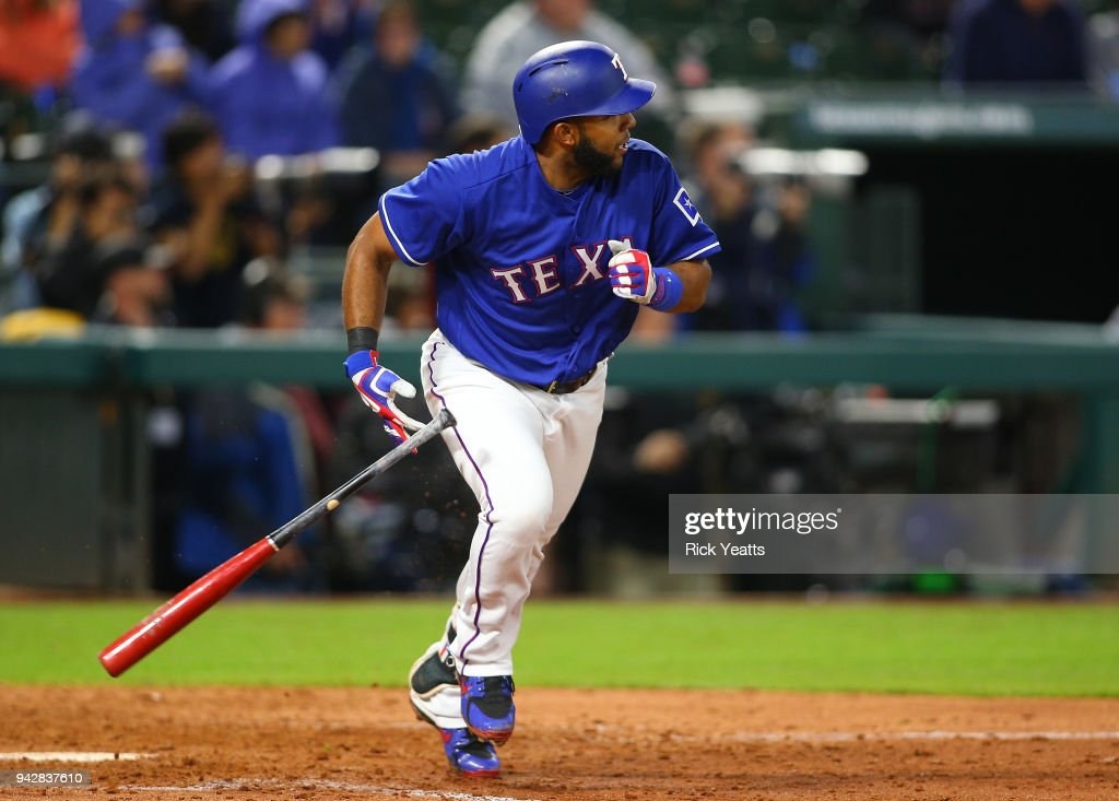 Elvis Andrus #1 of the Texas Rangers hits a single RBI in the seventh inning against the Toronto Blue Jays at Globe Life Park in Arlington on April 6, 2018 in Arlington, Texas.