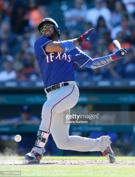 Elvis Andrus of the Texas Rangers hits the ball off of his foot during the fifth inning of a game against the Detroit Tigers at Comerica Park on July...