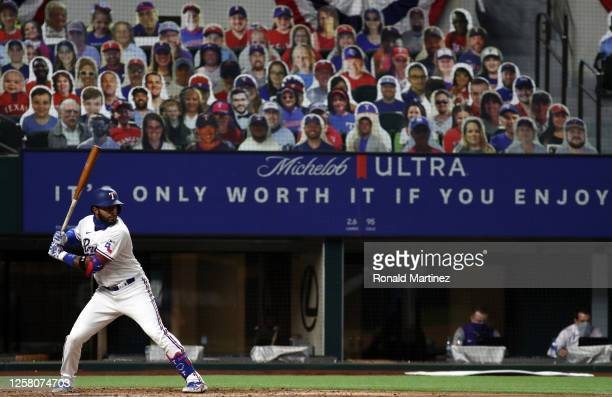 Elvis Andrus of the Texas Rangers on Opening Day at Globe Life Field on July 24, 2020 in Arlington, Texas. The 2020 season had been postponed since...
