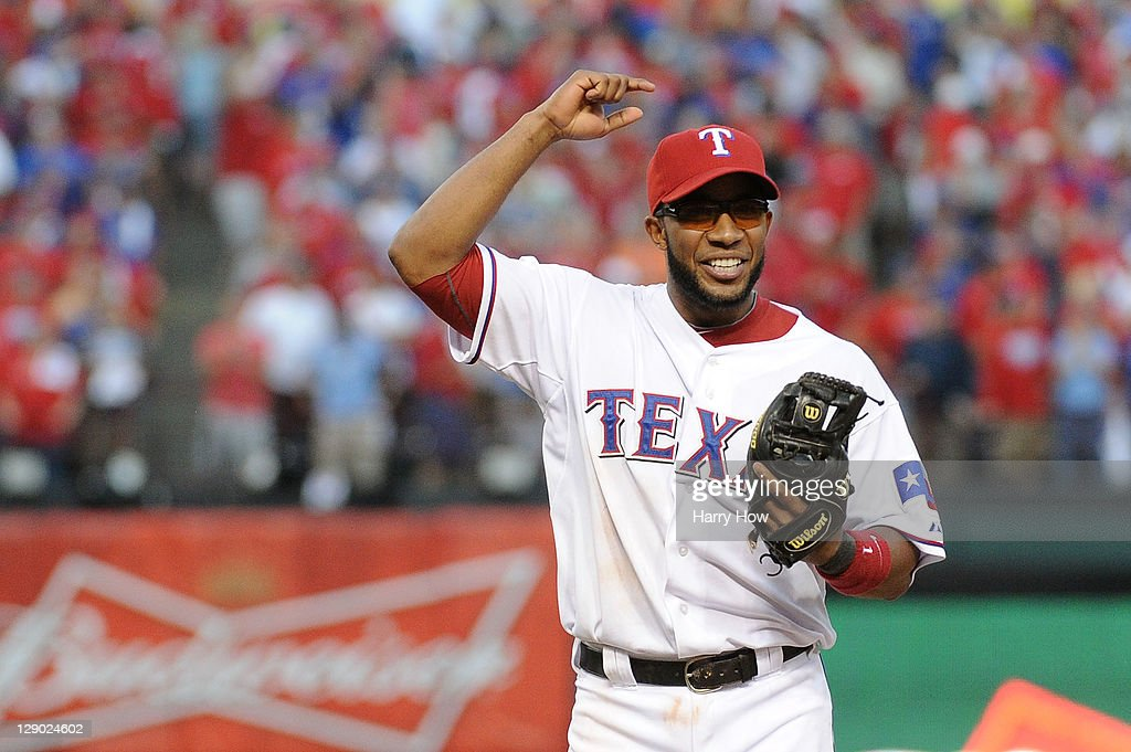 Elvis Andrus #1 of the Texas Rangers reacts after a catch to end the top of the ninth inning of Game Two of the American League Championship Series against the Detroit Tigers at Rangers Ballpark in Arlington on October 10, 2011 in Arlington, Texas.