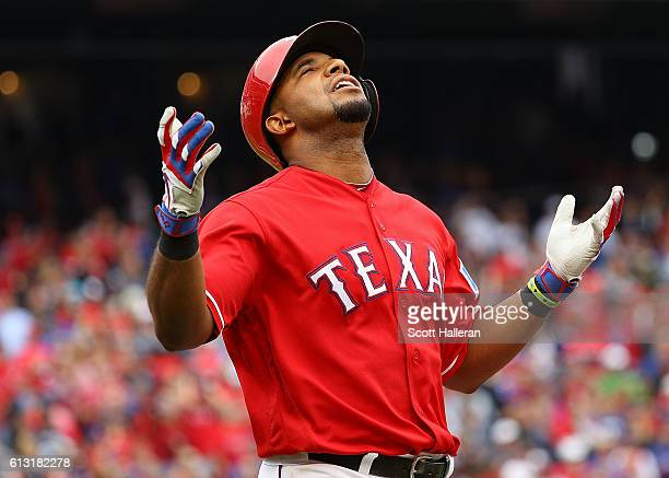 Elvis Andrus of the Texas Rangers reacts against the Toronto Blue Jays in the eighth inning of game two of the American League Divison Series at...