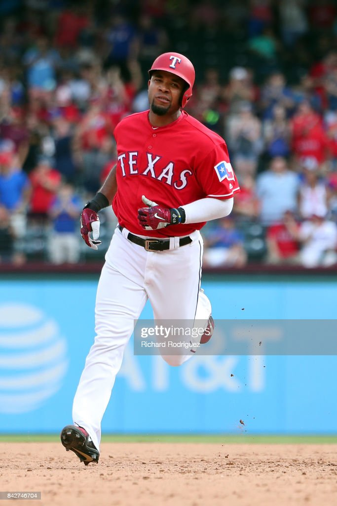 Elvis Andrus #1 of the Texas Rangers rounds the bases after a home run against the Los Angeles Angels of Anaheim at Globe Life Park in Arlington on September 3, 2017 in Arlington, Texas.