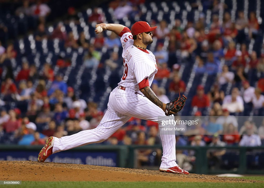 Elvis Araujo #59 of the Philadelphia Phillies throws a pitch in the ninth inning during a game against the Toronto Blue Jays at Citizens Bank Park on June 15, 2016 in Philadelphia, Pennsylvania. The Blue Jays won 7-2.