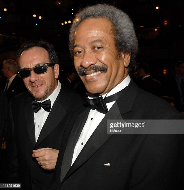 Elvis Costello and Allen Toussaint during 21st Annual Rock and Roll Hall of Fame Induction Ceremony Cocktails and Dinner at Waldorf Astoria Hotel in...