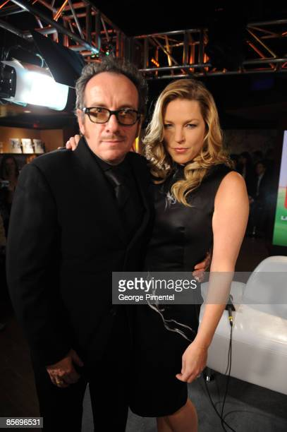 Elvis Costello and Diana Krall pose backstage in the E Talk Lounge at the 2009 Juno Awards at General Motors Place on March 29 2009 in Vancouver...