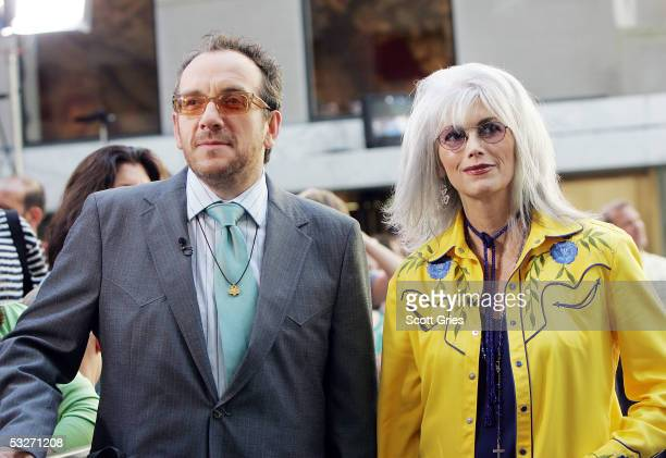 Elvis Costello and Emmylou Harris pose for a photo during the Toyota Concert Series on the Today Show July 22, 2005 in New York City.