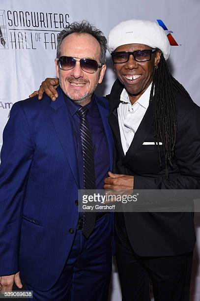 Elvis Costello and Nile Rodgers attend Songwriters Hall Of Fame 47th Annual Induction And Awards at Marriott Marquis Hotel on June 9 2016 in New York...