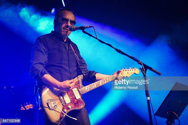 Elvis Costello and The Imposters perform on stage at Barrowlands Ballroom on July 13, 2016 in Glasgow, Scotland.