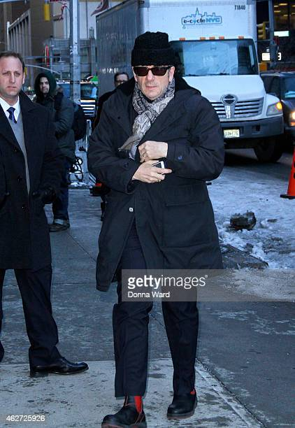 Elvis Costello arrives for the Late Show with David Letterman at Ed Sullivan Theater on February 3 2015 in New York City