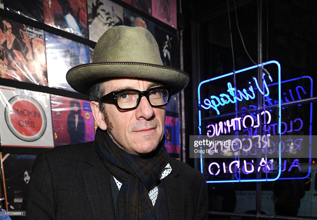 Elvis Costello attends the launch of 'Commando: The Autobiography of Johnny Ramone' at John Varvatos Bowery NYC on March 29, 2012 in New York City.