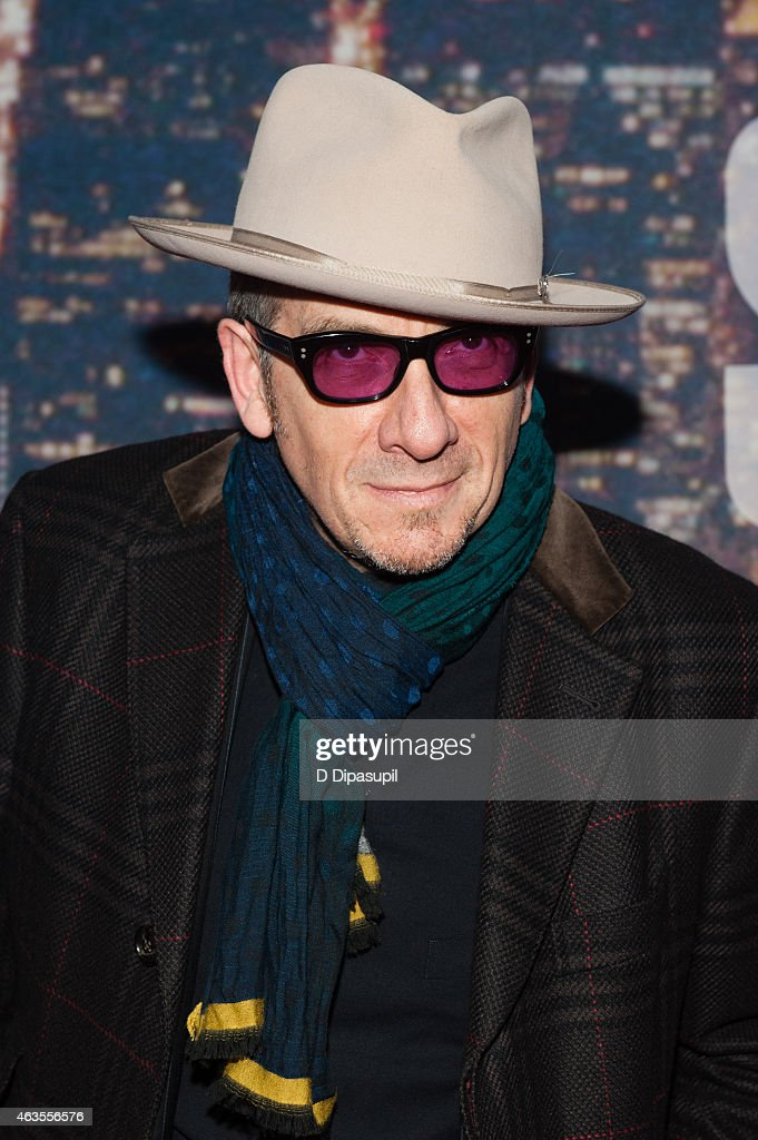 Elvis Costello attends the SNL 40th Anniversary Celebration at Rockefeller Plaza on February 15, 2015 in New York City.
