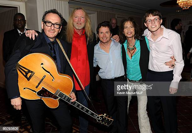 * EXCLUSIVE* Elvis Costello Gregg Allman Michael J Fox Steven Tyler and Sam Fox pose backstage during The Michael J Fox Foundation�s 2009 Benefit A...