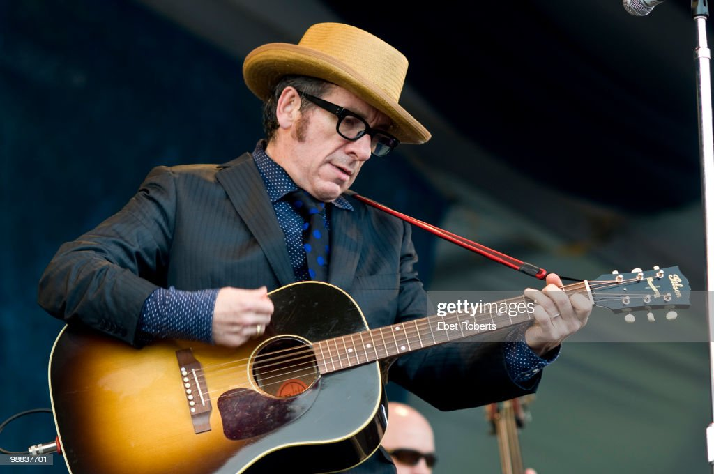 Elvis Costello performing at the New Orleans Jazz & Heritage Festival on April 29, 2010 in New Orleans, Louisiana.