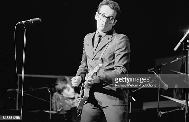 Elvis Costello performs a set at a benefit concert at the Hammersmith Odeon in London for Cambodian refugees Other acts at the event included The Who...