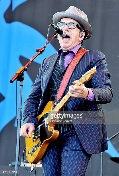 Elvis Costello performs at day 3 of the 2013 Glastonbury Festival at Worthy Farm on June 29, 2013 in Glastonbury, England.