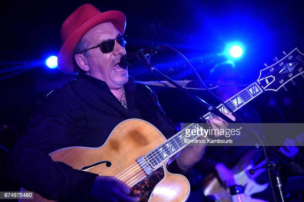 Elvis Costello performs at Full Frontal With Samantha Bee's Not The White House Correspondents' Dinner After Party at the W Hotel POV Rooftop on...