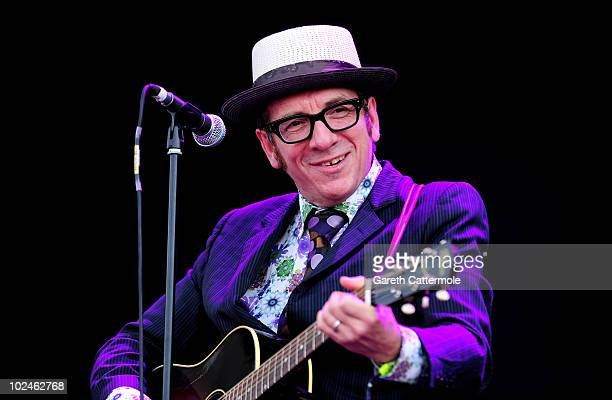 Elvis Costello performs during day 3 of the Hard Rock Calling festival held in Hyde Park on June 27 2010 in London England