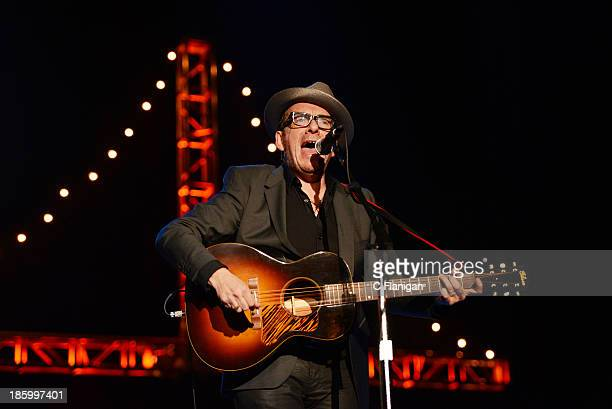 Elvis Costello performs during the 27th Annual Bridge School Benefit Concert at Shoreline Amphitheatre on October 26 2013 in Mountain View California