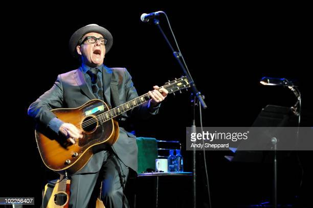 Elvis Costello performs on stage as part of Richard Thompson's Meltdown Festival 2010 at the Royal Festival Hall on June 20 2010 in London England