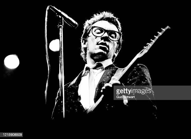 Elvis Costello performs on stage at the Dominion Theatre, London, 18th December 1978.