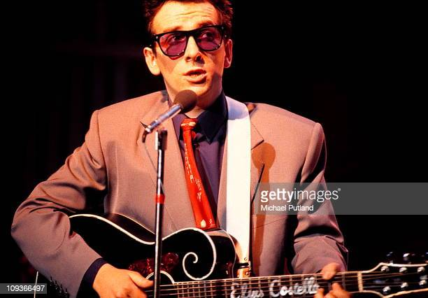 Elvis Costello performs on stage New York 1982