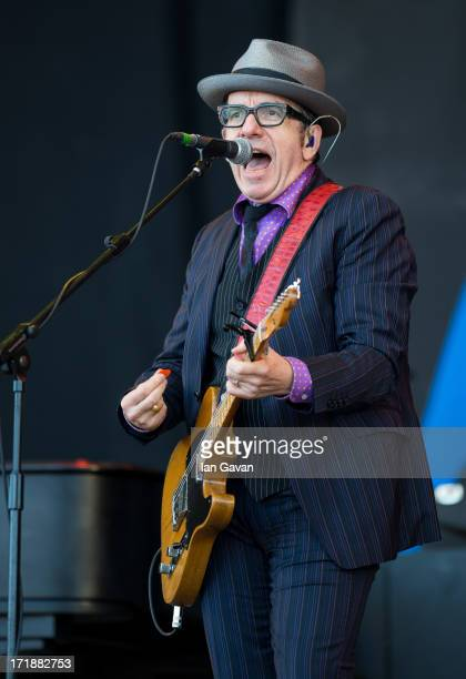 Elvis Costello performs on the Pyramid Stage during day 3 of the 2013 Glastonbury Festival at Worthy Farm on June 29 2013 in Glastonbury England