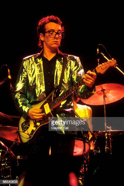 Elvis Costello the Attractions performing at the Berkeley Community Theater February 10 1979 He plays a Fender Jazzmaster guitar