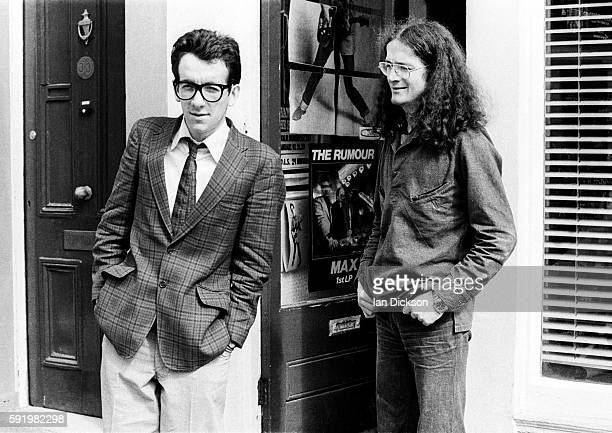 Elvis Costello with Niall Stokes of Hot Press at Stiff Records office London in 1977