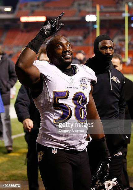 Elvis Dumervil of the Baltimore Ravens walks off the field after a 3327 win over the Cleveland Browns at FirstEnergy Stadium on November 30 2015 in...