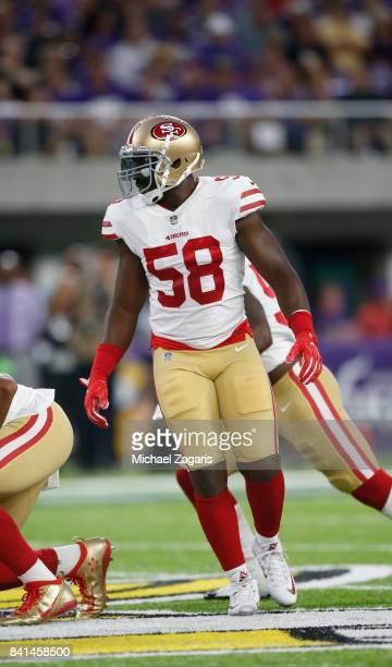 Elvis Dumervil of the San Francisco 49ers defends during the game against the Minnesota Vikings at US Bank Stadium on August 27 2017 in Minneapolis...