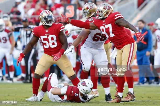 Elvis Dumervil of the San Francisco 49ers reacts after a hit on Drew Stanton of the Arizona Cardinals during their NFL game at Levi's Stadium on...