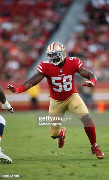 Elvis Dumervil of the San Francisco 49ers rushes the quarterback during the game against the Denver Broncos at Levi Stadium on August 19 2017 in...
