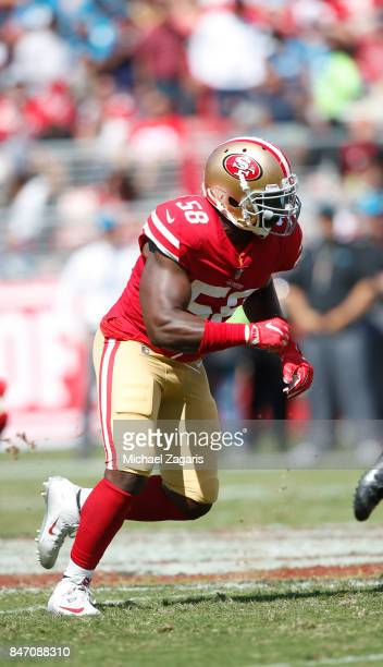 Elvis Dumervil of the San Francisco 49ers rushes the quarterback during the game against the Carolina Panthers at Levi's Stadium on September 10 2017...