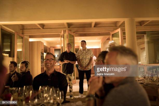 Elvis Duran and Alex Carr speak to guests at The Burning of Zozobra Preevent Dinner hosted by the Elvis Duran at his new home in honor of Mayor...