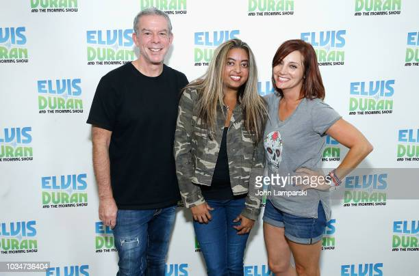 Elvis Duran and Danielle Monaro pose with Cohost Medha Gandhi as she joins The Elvis Duran Z100 Morning Show at Z100 Studio on September 17 2018 in...