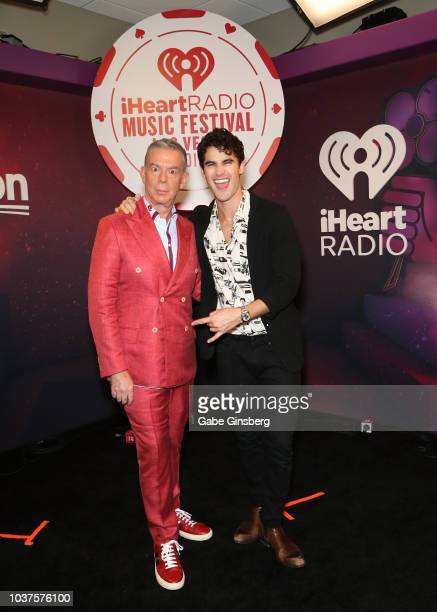 Elvis Duran and Darren Criss attend the 2018 iHeartRadio Music Festival at TMobile Arena on September 21 2018 in Las Vegas Nevada