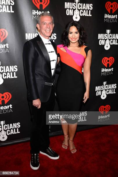 Elvis Duran and Demi Lovato attend Musicians On Call presents A Night To Celebrate Elvis Duran at The Edison Ballroom on March 21 2017 in New York...