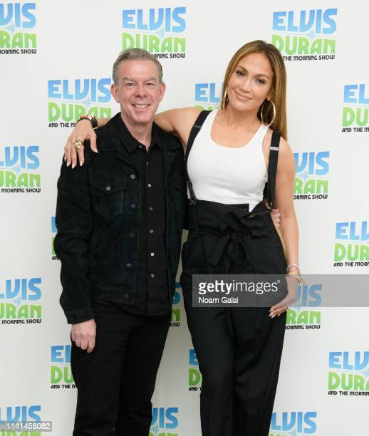 Elvis Duran and Jennifer Lopez pose for a photo backstage at The Elvis Duran Z100 Morning Show at the Z100 Studio on April 09 2019 in New York City
