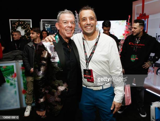 Elvis Duran and Joe Gatto attend the Z100's Jingle Ball 2018 Gift Lounge at Madison Square Garden on December 7 2018 in New York City
