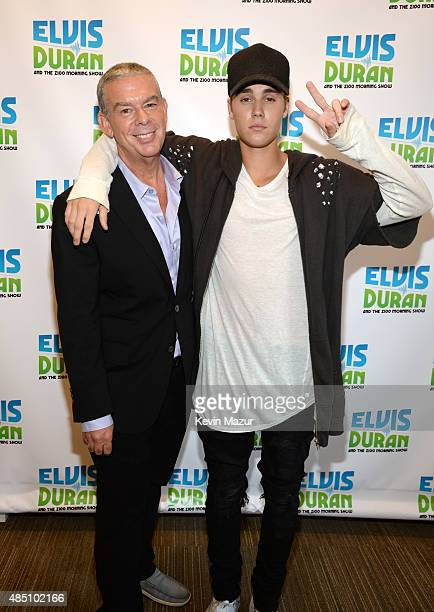 Elvis Duran and Justin Bieber pose during his visit at 'The Elvis Duran Z100 Morning Show' at Z100 Studio on August 24 2015 in New York City
