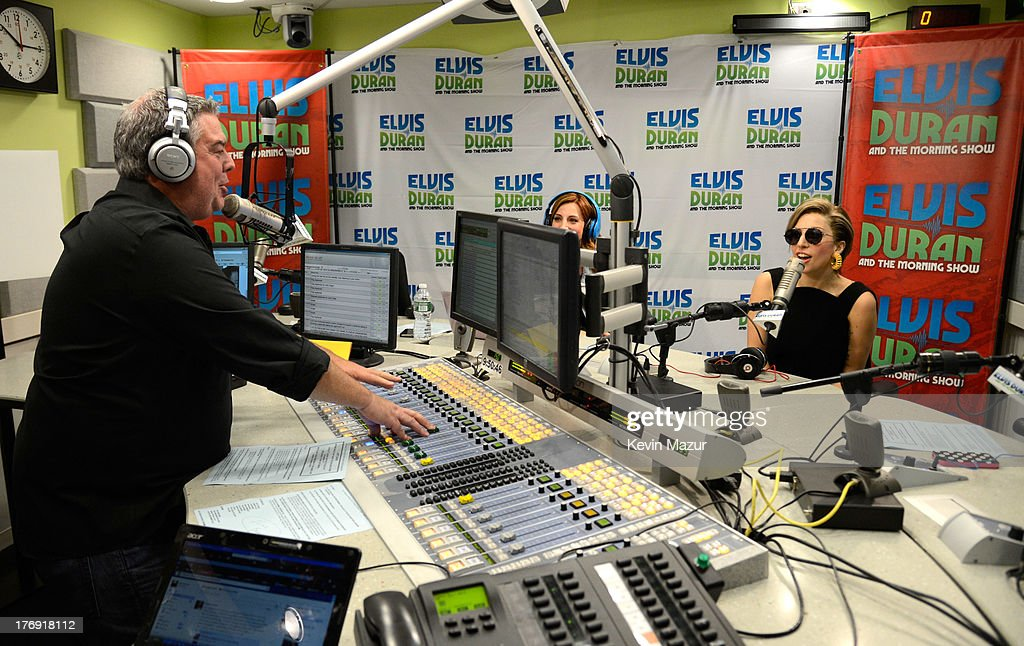 Elvis Duran and Lady Gaga at the 'Elvis Duran and the Z100 Morning Show' at Z100 Studio on August 19, 2013 in New York City.