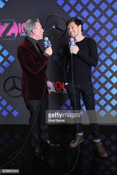 Elvis Duran and recording artist Niall Horan speak at the broadcast room at the Z100's Jingle Ball 2016 at Madison Square Garden on December 9 2016...